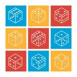 Biali kasynowi kostka do gry na kolorowym tle Set płaskie nowożytne kreskowe ikony również zwrócić corel ilustracji wektora Zdjęcia Stock
