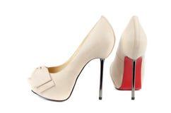 Biali kobieta buty Zdjęcie Royalty Free
