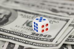 Biali kostka do gry i sto dolarowi rachunków Obraz Stock
