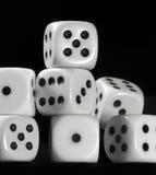 Biali kostka do gry w czerń plecy Fotografia Stock