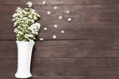 Biali krajaczy kwiaty są w wazie na drewnianym tle Obrazy Royalty Free