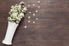 Biali krajaczy kwiaty są w wazie na drewnianym tle Fotografia Stock