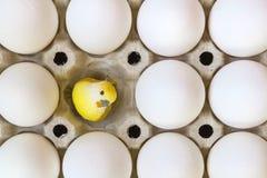 Biali kurczaków jajka w kartonowej tacy z żółtym dziecka kurczątkiem bawją się w pustej szczelinie najlepszy widok zdjęcia stock