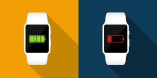 Biali mądrze zegarki z pełną i niską bateryjną ikoną Wektorowa płaska ilustracja Obrazy Stock