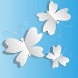 Biali motyle od papieru Zdjęcie Royalty Free