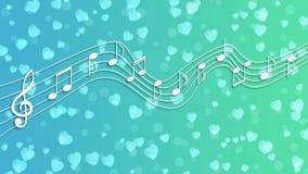 Biali muzyk serca w tle, notatki i ilustracja wektor