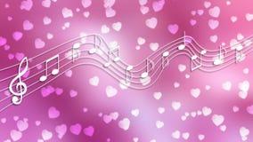 Biali muzyk serca w Zamazanym Różowym tle i notatki ilustracji