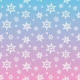 Biali płatki śniegu śnieżni na błękita i menchii nieba gradientowej zimie Chris Obraz Royalty Free