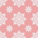 Biali płatki śniegu na różowego tła bezszwowym wzorze Obraz Stock