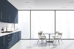 Biali panoramiczni kuchnia, błękitów kontuary i stół, royalty ilustracja