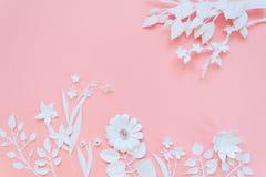 Biali papierowi kwiaty tapeta, wiosny lata tło, kwiecistego projekta elementy Obraz Stock