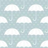 Biali parasole na szarość z podeszczowymi kroplami, bezszwowy wzór, wektor Fotografia Royalty Free