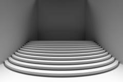 Biali round schodki w zmroku opróżniają izbowego szerokiego kąta frontowego widok Zdjęcie Royalty Free