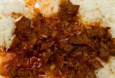 Biali ryż z wołowiną zdjęcia royalty free