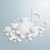 Biali serca Muzyczni Fotografia Stock