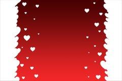 Biali serca na jaskrawym czerwonym tle Walentynka dnia szablon royalty ilustracja