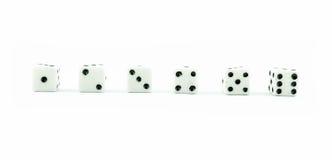 Biali starzy kostka do gry na białym tle Zdjęcie Royalty Free
