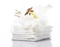 Biali zdrojów ręczniki zdjęcia royalty free