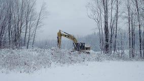 BIALKA TATRZANSKA, POLAND - FEBRUARY 3, 2018. Caterpillar CAT crawler excavator in the snow Stock Photography