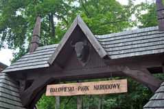Bialowieza parka narodowego wejście Obrazy Stock