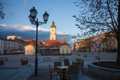 Bialystok主要集市广场和城镇厅 免版税图库摄影