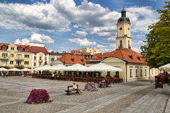 Bialystok is the largest city and cultural capital of Northeastern Poland. BIALYSTOK, POLAND - AUGUST 23, 2015: People visit the market square on August 23 stock photo
