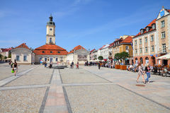 Bialystok, Poland. AUGUST 12: People visit the market square on August 12, 2011 in . Bialystok is the largest city and cultural capital of Northeastern Poland Royalty Free Stock Photo