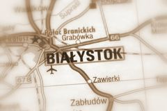 Bialystok, Poland - Europ. Bialystok, the largest city in northeastern Poland and the capital of the Podlaskie Voivodeship selective sepia focus stock photos