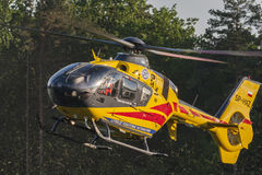 Bialystok , Poland , June 4, 2016: Yellow rescue helicopter. Bialystok , Poland , June 4, 2016 Rescue helicopter approaches the landing Stock Photos