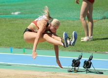 Bianca Kappler of Germany. Competes on the Women long jump during the 20th European Athletics Championships at the Olympic Stadium on July 27, 2010 in Barcelona Stock Images