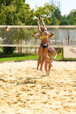 Bianca Zass missing a block in the preliminary match of Ljubljana Beach Volley challenge Royalty Free Stock Photography