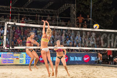 Bianca Zass scoring past Kristel Keins for the last point of the match in the finals of Ljubljana Beach Volley challenge Royalty Free Stock Photography