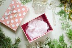 Biancheria intima rosa tenera sui precedenti bianchi Women& x27 di Natale; s Fotografia Stock Libera da Diritti