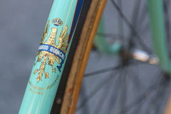 Bianchi old vintage bicycle, detail Royalty Free Stock Photo