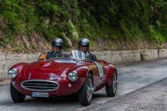 BIANCHI PANHARD ITALFRANCE 750 S COLLI 1954 na starym bieżnym samochodzie w zlotnym Mille Miglia 2017 sławna włoska dziejowa rasa Fotografia Stock