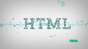Bianco binario del HTML di parole chiavi illustrazione di stock