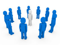 bianco blu del cerchio umano 3d Fotografie Stock
