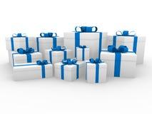 bianco blu del contenitore di regalo 3d Fotografie Stock Libere da Diritti