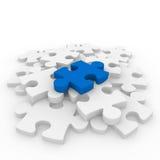 bianco blu di puzzle 3d Fotografia Stock Libera da Diritti