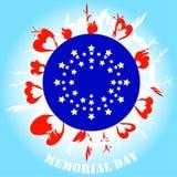 Bianco blu rosso di Memorial Day illustrazione vettoriale