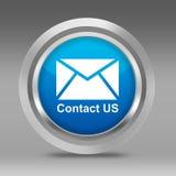 Bianco contattici simbolo sul cerchio metallico 3d Immagine Stock