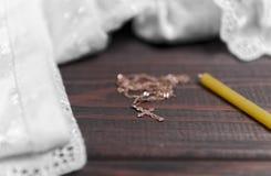 Bianco del bambino di battesimo Fotografie Stock