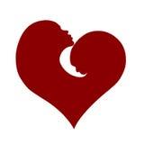 Bianco del biglietto di S. Valentino del cuore del bambino e della madre Fotografia Stock Libera da Diritti