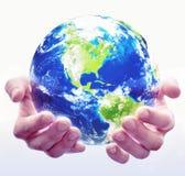 Bianco del globo della holding Fotografia Stock Libera da Diritti