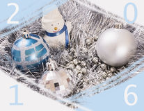 Bianco del pupazzo di neve degli ornamenti del nuovo anno Fotografia Stock