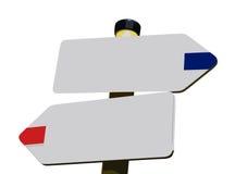 Bianco del segnale stradale, due modi Immagini Stock