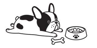 Bianco dell'arco dell'osso di cane dell'icona di logo dell'illustrazione del personaggio dei cartoni animati del bulldog francese royalty illustrazione gratis