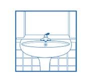 Bianco dell'icona del washstand della stanza da bagno Fotografia Stock