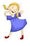 Bianco dell'illustrazione di stile del fumetto del carattere di divertimento del bambino della ragazza Fotografia Stock