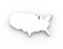 Bianco della mappa 3D di U.S.A. con gli stati ed il percorso di ritaglio Immagini Stock Libere da Diritti